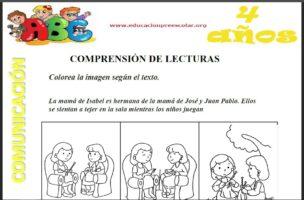 Fichas de Comprension Lectora Para Niños de Cuatro Años