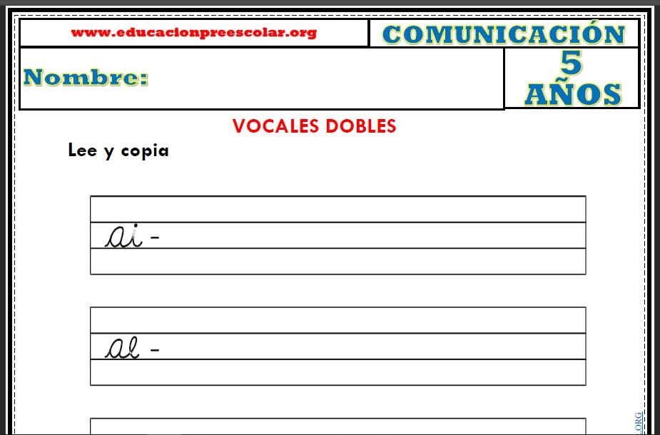 Fichas de Vocales Dobles Para Niños de 5 Años